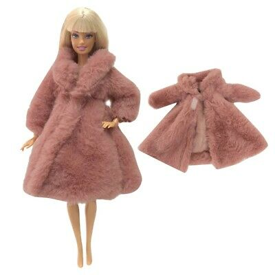 Beautiful long Soft fur coat jacket for Barbie doll clothes dress outfit gift 5