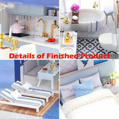AU DIY LED Music Apartments Dollhouse Miniature Wooden Furniture Kit Doll House 11