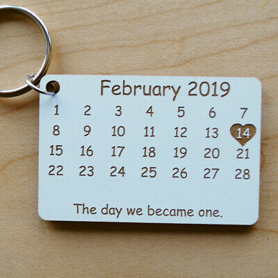 Calendar - Personalised Laser Cut Keyring - Anniversary, Wedding, Save the Date 3