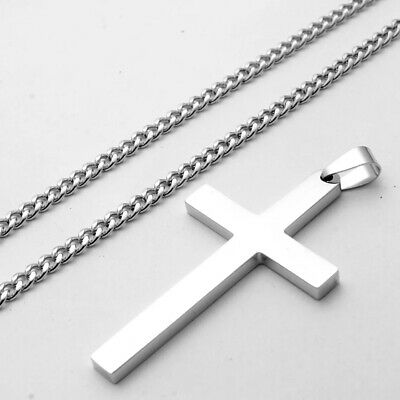 Stainless Steel Plain Silver Jesus Cross Crucifix Pendant Necklace Mens & Womens 2