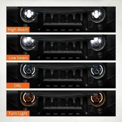 DOT Pair 7 Inch CREE LED Headlights Halo Angle Eye For Jeep Wrangler JK TJ CJ LJ 3