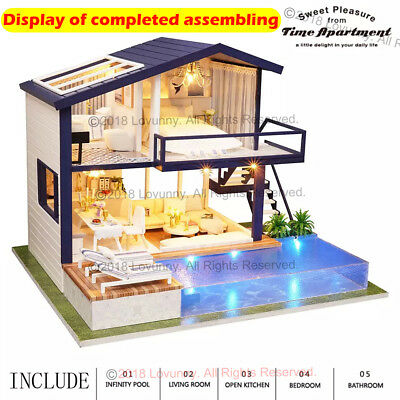 AU DIY LED Music Apartments Dollhouse Miniature Wooden Furniture Kit Doll House 3