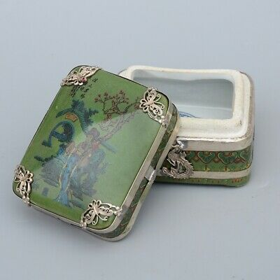 AAA Collectable China Old Miao Silver Porcelain Carve Ancient Beauty Jewelry Box 3