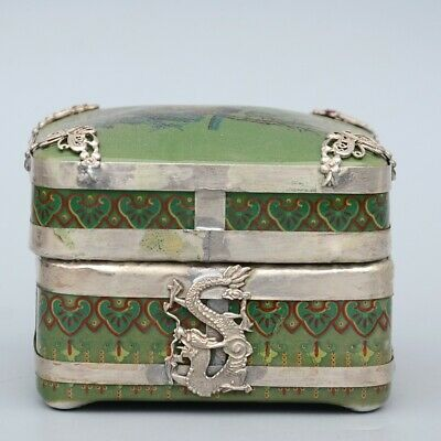 AAA Collectable China Old Miao Silver Porcelain Carve Ancient Beauty Jewelry Box 2