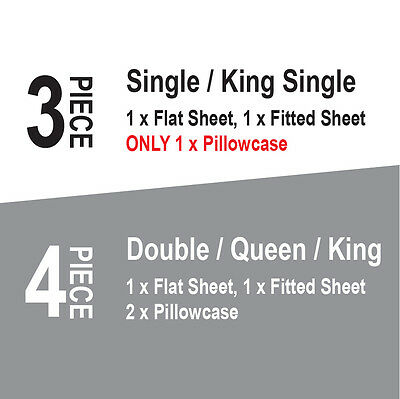 Single/KS/Double/Queen/King 4 Piece Bed Sheet Set,Flat,Fitted,Pillowcases 2