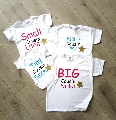 personalised cousin family name t-shirts big little tiny babygrow tops middle 2