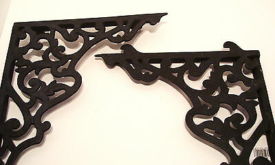 Pair Vintage Steel Shelf Brackets Lock In Type 12 x 14 Inches Victorian Style 5