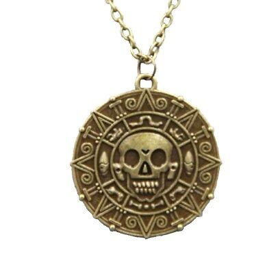 Pirates of the Caribbean Aztec coin Medallion Skull Charm Keyring UK SELLER