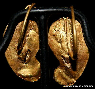 Ancient Roman Gold Earrings 2Nd - 3Rd Century A.d. Choice Condition! 2