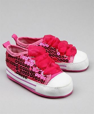 NEW Baby Girls Glitter Sequin Sneaker Shoes 0-12m Size 1//4 silver black pink blu