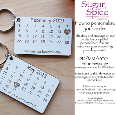Calendar - Personalised Laser Cut Keyring - Anniversary, Wedding, Save the Date 2