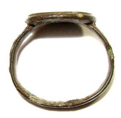 Ancient Rare Medieval bronze pseudo heraldry finger ring seal 6