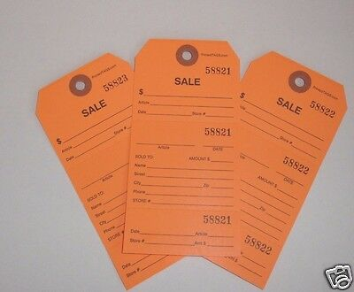 1000 numbered sales hang tags tear off repair tag perforated stub