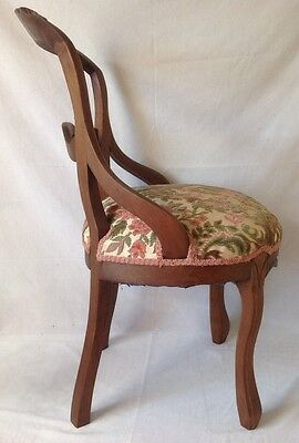 Antique Victorian Carved Balloon Back Chair Walnut w Chenille Upholstered Seat 6