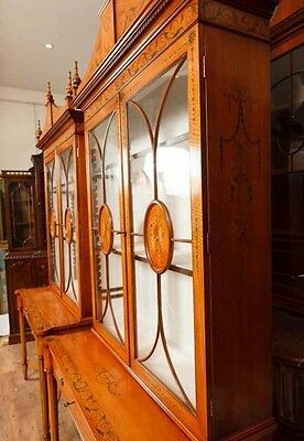 Pair Regency Satinwood Display Cabinets Bookcases Sheraton Furniture 12