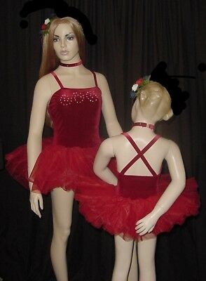 DELICIOUS Dance Costume Red Velvet Leotard and Tutu with Choker Child Large New