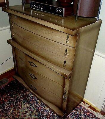 VTG 1960S MID Century Modern Bassett Furniture Full Size Bedroom Set