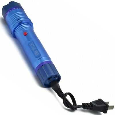 BLUE 350 Million Volt Personal Security Stun Gun LED FlashLight + Case NEW 3