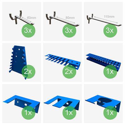 Werkzeugwand Lochwand mit Hakensortiment Werkstattwand Werkzeughalter Metall 2