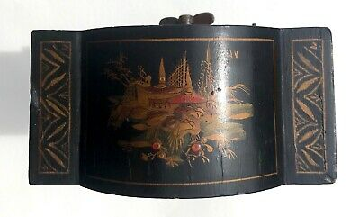 Chinoiserie Bracket Mantel Clock Hand Painted Black And Gold With Engraved Dial 7
