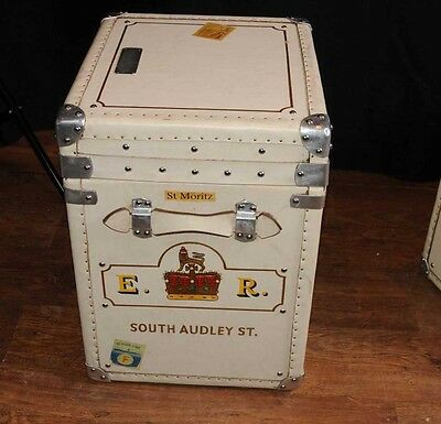 Pair Leather Trunks Luggage Boxes Coffee Tables Side