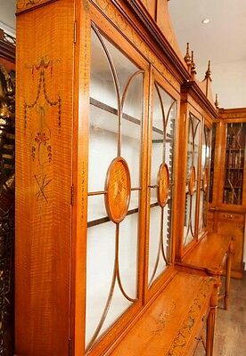 Pair Regency Satinwood Display Cabinets Bookcases Sheraton Furniture 6