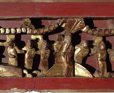 Antique CHINESE figural HIGH RELIEF wood PANEL gold RED 25 inches 6