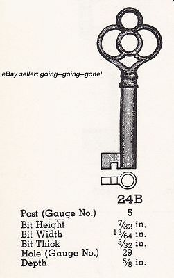 ANTIQUE HOLLOW BARREL KEY ROLL TOP DESK CABINET DRAWER KEY EARLY 1900's NICE 24B 5
