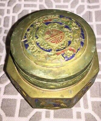 Antique Asian Brass Enameled Lidded Canister Jar 3