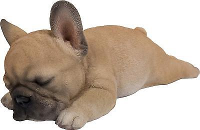 Lying Down Sleeping French Bulldog Puppy Life Like Figurine Statue Home / Garden