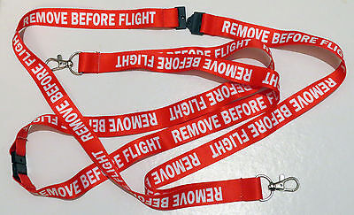 REMOVE BEFORE FLIGHT classic red keychain neckstrap Lanyard