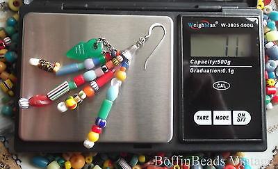 Antique tassel EARRINGS Venetian Bohemian vintage beads LONG .925 colourful Afro 7
