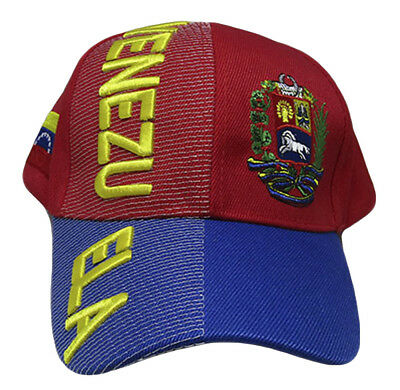 Venezuela Country Letters Emblem Red With Blue Bill 3-D Embroidered Cap Hat 3