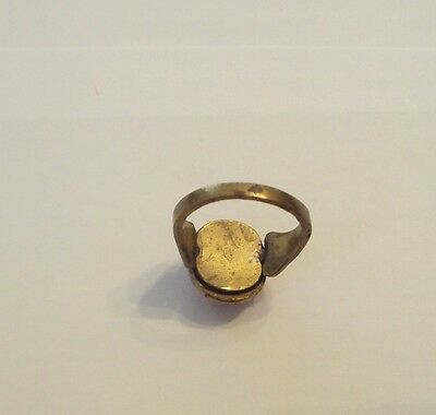 Early 20Th C Bronze Ring With Red Stone Very Beautiful #175 5