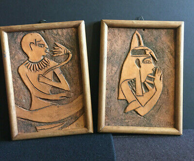 2  Antique Terracotta Carved Wall Plaque, Art, Egyptian Folk Art Signed, Nice 2