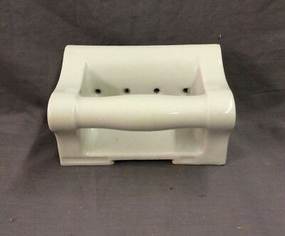 Vtg Ceramic White Porcelain Soap Dish Grab Bar Wall Mount Old Fixture 21-19D 8