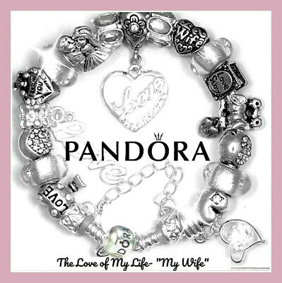 """Authentic PANDORA Bracelet Silver with """"LOVE STORY!"""" WIFE European Charms New 3"""