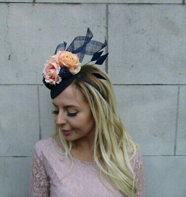 Navy Blue Peach Apricot Flower Feather Pillbox Hat Fascinator Races Wedding 8025 3