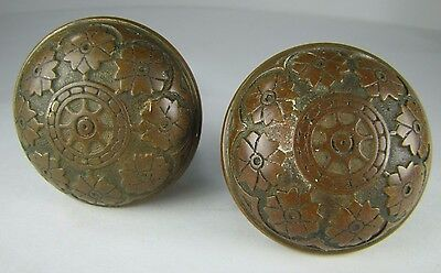 Antique Pair Bronze Door Knobs ornate flowers leaves high relief exquisite hdwr 3