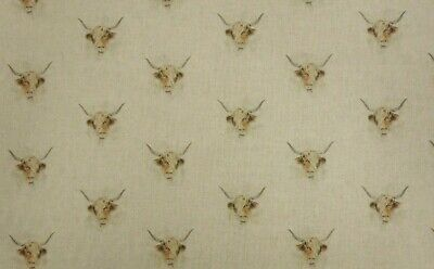 Highland Cow Animal Linen-Look Fabric Cushions Panels all Over And Plain Fabric