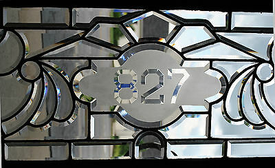 "Antique Fully Beveled Glass Transom Window with 827 Number in Center 63"" 2"