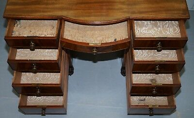 Exquisite Regency Period 1815 Mahogany Kneehole Desk With Lion Hairy Paw Feet 10