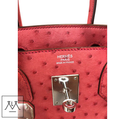 2da3ba9808 ... Hermes Birkin Bag 30cm Bougainvillea Red Ostrich Skin PHW - 100%  Authentic 7