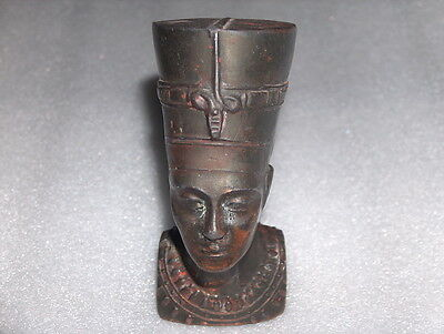 Vintage Antique  Egyptian Nefertiti Bronze/metal Bust Figure, Damaged/disjointed