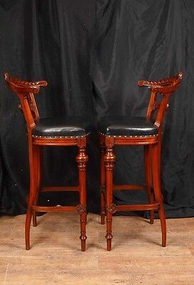 Pair Victorian Hand Carved Mahogany Bar Stools Seats 5