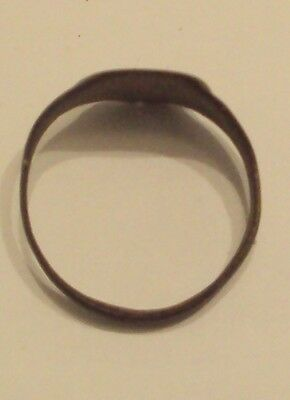 Amazing Post-Medieval Bronze Ring With Engraving On The Top # 997 5