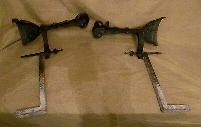 Pair Antique Victorian Bronze Rams Head Form Andirons Aesthetic 10