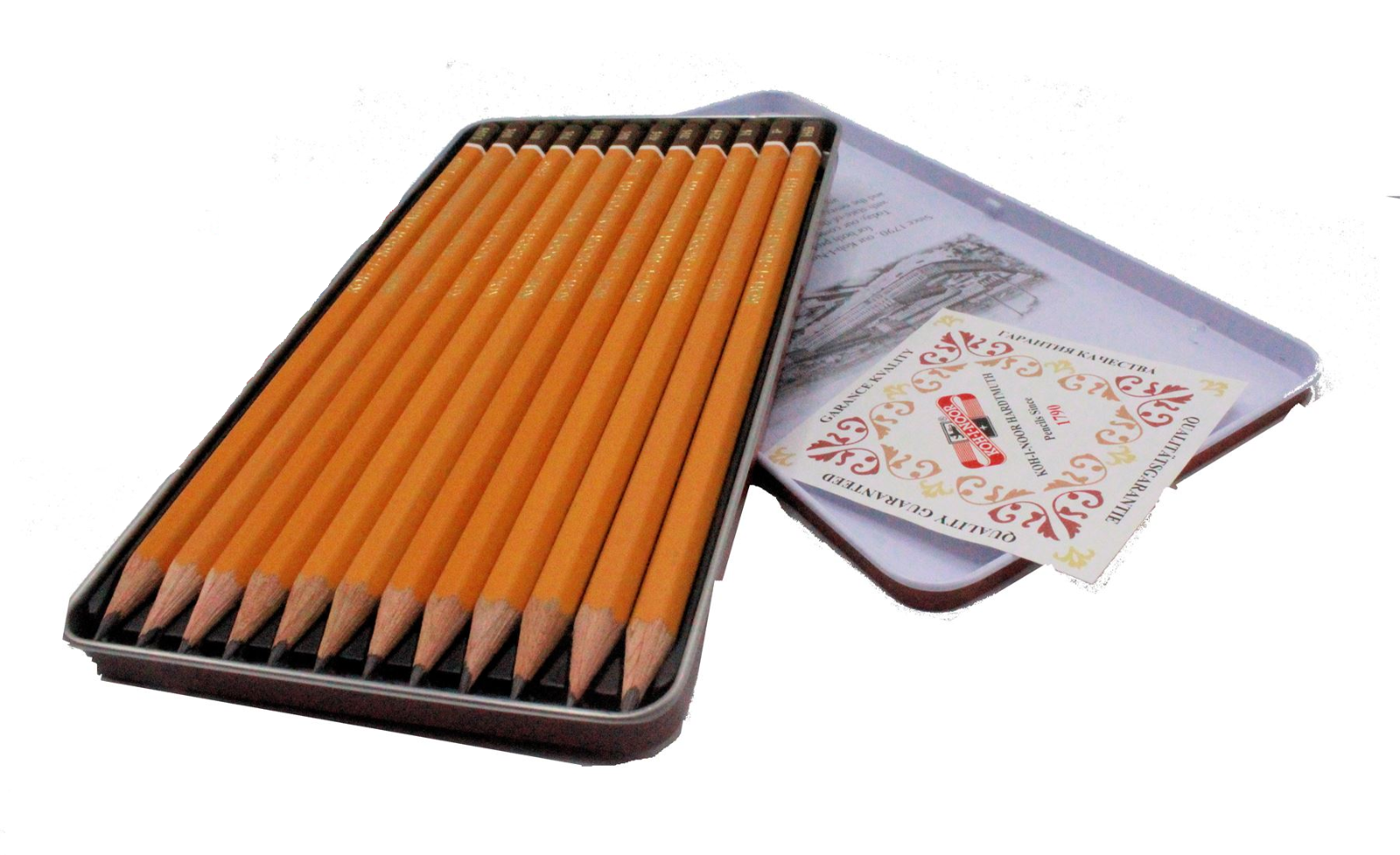 Set of 12 Koh-I-Noor 1502//111 Graphic Medium Grades Drawing Pencils Tin 5B-5H