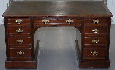 Rare Hampton & Son's Pall Mall Mahogany Twin Pedestal Writing Partners Desk 5