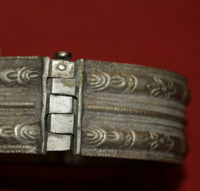 Antique Greek Handcrafted Engraved Silver Folk Hinged Cuff Bracelet 10